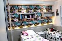 Dormitório Infantil com iluminação de LED e nichos.